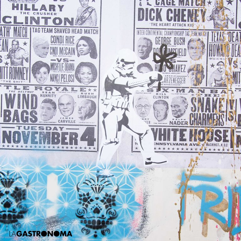 Mural realizado a través de superposiciones, spray o extenfil de Bestia  ©Manuela Henao // www.manuelahenaocomercial.wordpress.com